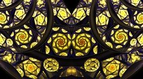 Ornamento abstrato do mosaico com as rosas douradas estilizados no fundo preto Fotos de Stock