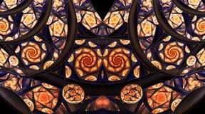 Ornamento abstrato do mosaico com as rosas estilizados no fundo preto Fotos de Stock Royalty Free