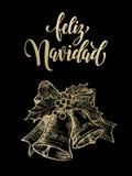 Ornamento accogliente spagnolo della campana dell'oro di Feliz Navidad Merry Christmas Fotografia Stock Libera da Diritti