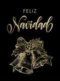 Ornamento accogliente spagnolo della campana dell'oro di Feliz Navidad Merry Christmas Immagine Stock