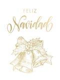 Ornamento accogliente spagnolo della campana dell'oro di Feliz Navidad Merry Christmas Fotografia Stock