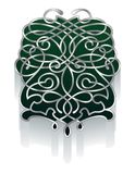 Ornamento afiligranado en verde y estaño Imagen de archivo libre de regalías