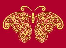 Ornamento amarillo de la mariposa Imagen de archivo