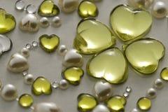Ornamento amarillo de la tarjeta del día de San Valentín Foto de archivo