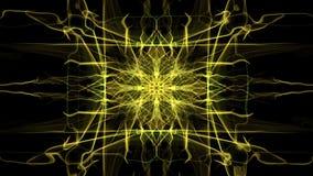 Ornamento animado amarillo del fractal del rectángulo en fondo negro Rayos de la energía en el movimiento convergente almacen de video