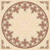 Ornamento arabo rotondo sul modello beige leggero Illustrazione Vettoriale