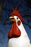 Ornamento artsy del césped de un gallo blanco imagenes de archivo