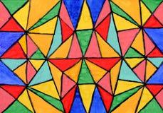 Ornamento astratto del mosaico dall'acquerello su documento Immagini Stock Libere da Diritti