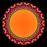 Ornamento azteca geométrico del círculo del sol étnico colorido, marco del vector stock de ilustración