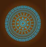 Ornamento azteco del cerchio del sole Fotografia Stock