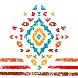 Ornamento azteco variopinto sull'illustrazione etnica geometrica bianca, vettore Immagini Stock
