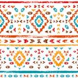 Ornamento azteco variopinto sull'illustrazione etnica geometrica bianca, vettore Immagini Stock Libere da Diritti