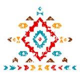 Ornamento azteco variopinto sull'illustrazione etnica geometrica bianca, vettore Immagine Stock