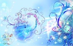 Ornamento azuis do brushwork ilustração royalty free