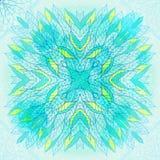 Ornamento azul cuadrado étnico dibujado mano Imagen de archivo