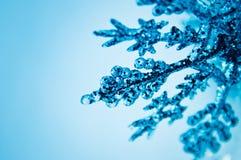 Ornamento azul de la Navidad en la nieve Fotografía de archivo libre de regalías