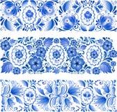 Ornamento azul tradicional do russo no estilo do gzhel ilustração stock
