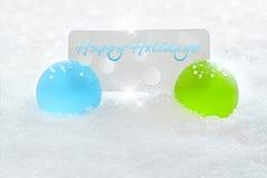 Ornamento azul y verde de la Navidad - texto del día de fiesta Imagen de archivo libre de regalías