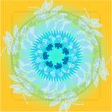 Ornamento beige circular étnico dibujado mano stock de ilustración