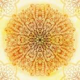 Ornamento beige circular étnico dibujado mano Imagen de archivo libre de regalías