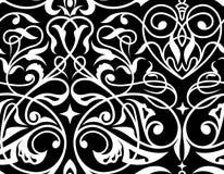 Ornamento bianco del damasco e nero senza cuciture Fotografie Stock Libere da Diritti