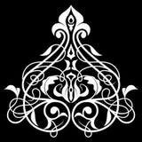 Ornamento bianco del damasco e nero senza cuciture Fotografia Stock