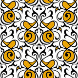Ornamento bianco del damasco, giallo e nero senza cuciture Immagini Stock