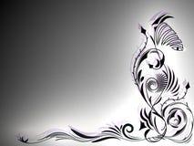 Ornamento in bianco e nero astratto del tatuaggio con le luci nell'angolo dell'immagine Immagini Stock Libere da Diritti
