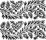 Ornamento in bianco e nero delle foglie Fotografia Stock Libera da Diritti