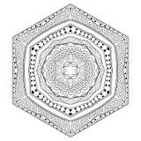 Ornamento in bianco e nero a sei facce messicano illustrazione di stock