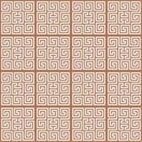 Ornamento blanco del meandro en el fondo marrón stock de ilustración