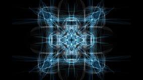 Ornamento blanco y azul del cuadrado del fractal en fondo negro Ornamento simétrico agradable en el movimiento que calma lento almacen de video