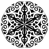 Ornamento blanco y negro redondo Decoración floral Fotografía de archivo libre de regalías