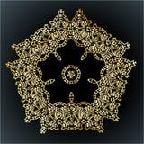 Ornamento bonito do laço para cartões ou convite, elementos redondos da mandala, motivo indiano árabe étnico tribal Geomet floral Imagens de Stock Royalty Free