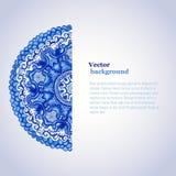 Ornamento branco e azul Gzhel do vetor da aquarela La de canto do Doily ilustração do vetor