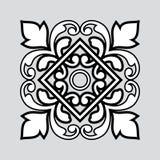 Ornamento branco e preto no cinza Fotografia de Stock Royalty Free