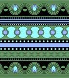Ornamento brillante en colores verdes Ondas, líneas, puntos y círculos horizontales en las filas, simetría de un modelo geométric stock de ilustración