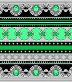 Ornamento brillante en colores verdes Ondas, líneas, puntos y círculos horizontales en las filas, simetría de un modelo geométric ilustración del vector
