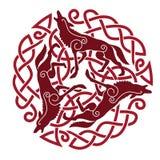 Ornamento céltico con los caballos Imagen de archivo libre de regalías