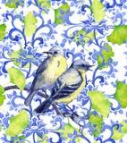 Ornamento chinês com pássaros e as folhas verdes do ginko ilustração royalty free