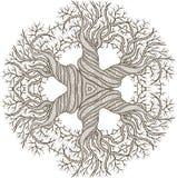 Ornamento circolare dall'albero astratto con l'arricciatura illustrazione di stock