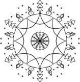 Ornamento circolare del profilo del nuovo anno con i pupazzi di neve e gli abeti illustrazione di stock