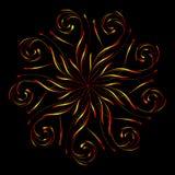 Ornamento circolare floreale astratto nei colori gialli e rossi sul nero Fotografie Stock