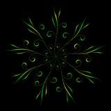 Ornamento circolare floreale astratto nei colori verdi e gialli sul nero Fotografia Stock