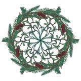 Ornamento circolare floreale di Natale Rami dell'albero e del vischio di abete con le foglie, i coni e le bacche Natale che accog Immagini Stock Libere da Diritti