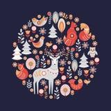 Ornamento circular decorativo con los animales, los pájaros, las flores y los árboles Imagenes de archivo