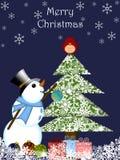 Ornamento colgante del muñeco de nieve de la Navidad Fotos de archivo
