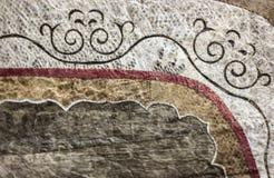 Ornamento colorido hermoso en tejido de la piel de los pescados Eth tradicional Foto de archivo libre de regalías