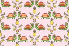 Ornamento colorido tropical con las tortugas divertidas en gafas de sol, cáscara del mar, flores, piñas stock de ilustración