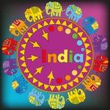 Ornamento com elefantes coloridos Foto de Stock Royalty Free